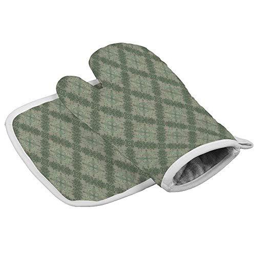 Wenxiupin Isolierhandschuhe mit Retro-Gittermuster, professionell, hitzebeständig, inklusive isolierten Handschuhen und isolierten quadratischen Pads