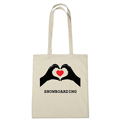 JOllify SNOWBOARDING katoenen tas B6154 Natuur: handen hart