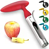 Premium Apple Corer - Easy to Use Durable Apple Corer Remover for Pears, Bell Peppers, Fuji, Honeycrisp, Gala and Pink Lady Apples - Stainless Steel Best Kitchen Gadgets Cupcake Corer - Zulay Red