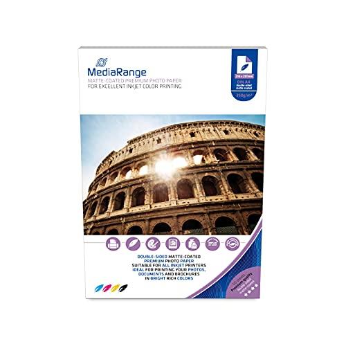 Media Range MRINK112 Papel fotográfico A4, 250 g, blanco, 50 Hojas mate en ambos lados