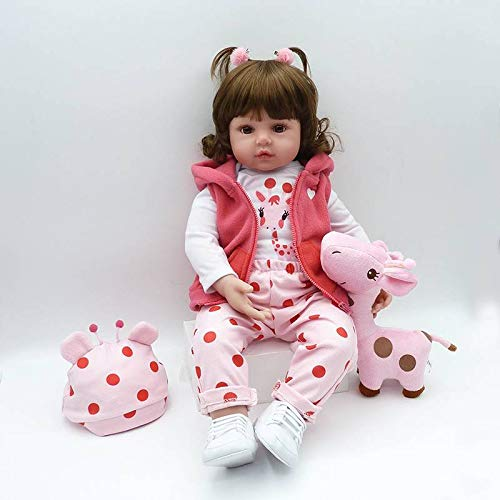 Nicery Reborn Baby Doll Muñeca Renacida Vinilo de Silicona de Simulación Suave 18 Pulgadas 45cm Boca Realista Vivo Niño Niña Juguete vívido Abrigo Rosa RD45C258W