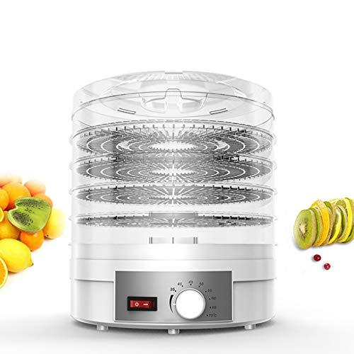 Dörrautomat, Dörrgerät mit Temperaturregler, Dörrapparat mit 5 Einlegefächer, 250W, 35-70 Celsius, Dehydrator, Lebensmittel Fleisch Gemüse Obst Trockner, BPA frei,White