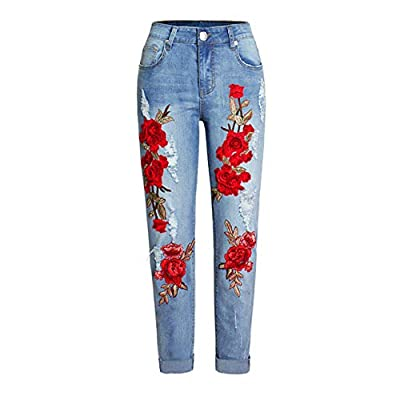 HOSDWomen Stretch Loose Denim Pants Floral Embroidery Ripped Pants Female Elastic Denim Jeans Pants Light Blue from HOSD