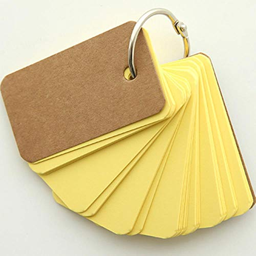 Kleine 80 unregulierte leere Seiten Notizblock-Wortkarten, Binder Ring Easy Flip FlashCards Alphabetkarten für Studie, gelb, 7cmx4cm