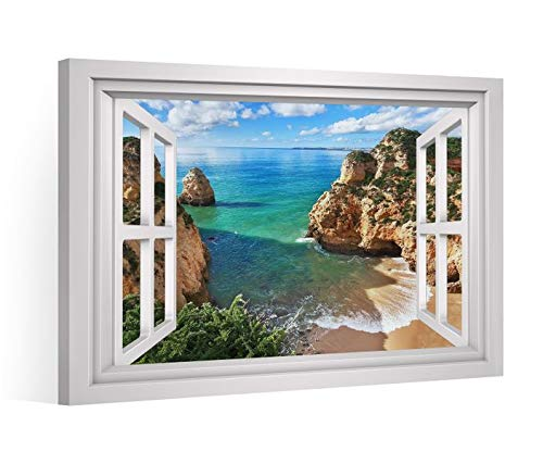 Fensterblick Leinwandbild XXL Bucht Portugal Meer Berg Leinwand Bild Bilder Leinwandbilder Druck Wandbild Keilrahmen 9CD235, Leinwand Gr.:120x80cm