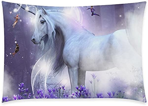 InterestPrint Home Decor Majestic Unicorn With Little Fairies Horse Pony Pillowcase 20 X 30 Inches One Side Flower Pillow Cover Case Shams Decorative