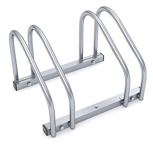 FSYG Bicicletas Soporte para 2 Portabicicletas Familiar Aparcabicicletas Ahorra Espacio Montado En El Piso O En La Pared Acero Galvanizado Bicycle Stand para Garaje O Cobertizo (Plateado)