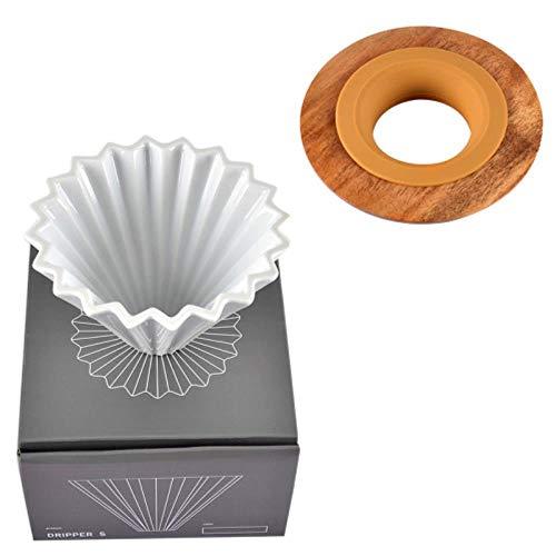 Keramik-Kaffeefilter-Tasse, Handgemachte Kaffee-Filter-Tasse, Origami-Filter-Tasse, V60-Trichter, Tropfentyp, Hand-Tasse-Filter-Kaffeekanne, 01 Weißes Set