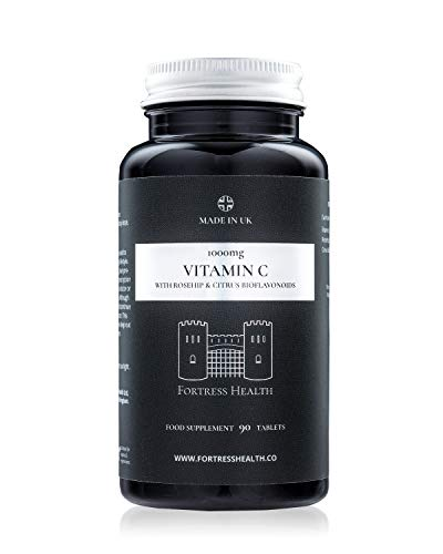 Vitamin C 1000mg with Rosehip and Citrus Bioflavonoids – 90 Tablets – 3 Months Supply - Made in The UK - Premium Quality - by Fortress Health