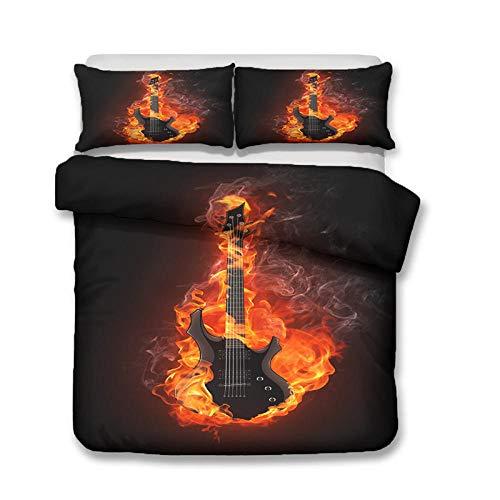 HGFHGD Flame Guitar Music Series 3D Doppelbett Supplies Set Jungen und Mädchen Große King Size Schwarz Quilt Cover Kissenbezug Dreiteiliges Set