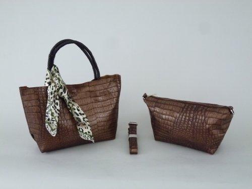 Bella-Vita GmbH Elegante Damentasche in Krokodil-Lederoptik braun-Bronze, Tasche, Shopper