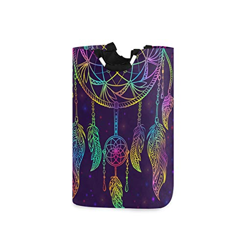 Colorful Dream Catcher With Ornament And Night Sky Stars Large Laundry Hamper Bag Collapsible with Handles Waterproof Durable Clothes Round Washing Bin Dirty Baskets Organization for Home Bathroom Dor