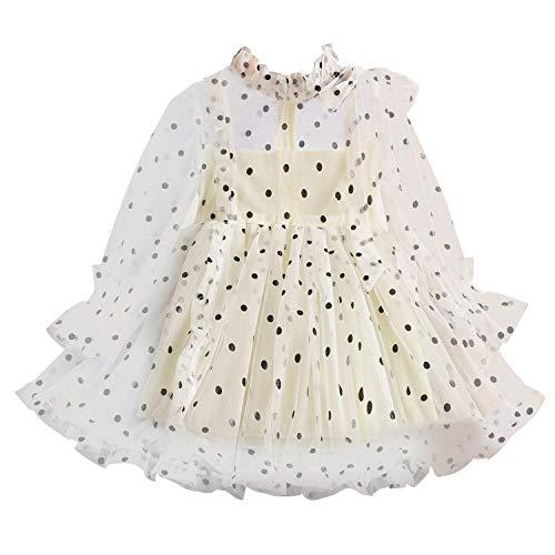 TTYAOVO Prinzessin Mädchen Spitze Kleid Beiläufig Blume Mädchen Baby Polka Punkte Größe 130 (5-6 Jahre) 1226 Gelb