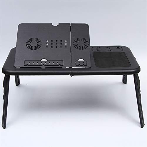 HOUHOU Mesa de computadora portátil Multifuncional con Mesa de Bandeja Plegable portátil de ángulo de Escritorio Ajustable Mesa de Bandeja con Ventilador de disipación de Calor Mesa Plegable