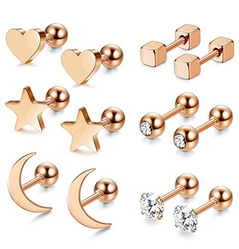 LQXZJ 3-6 pares Pendientes de acero quirúrgico for muchachas de las mujeres del corazón de la estrella Luna Pendientes de cartílago Helix (Color : B:rose Gold 6pairs)