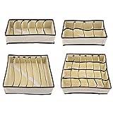 FTVOGUE Organizador Plegable de Cajones Caja de Almacenamiento de Divisor Duradero Caja Contenedor para Sujetador Ropa Interior Calcetín(Complete Set)