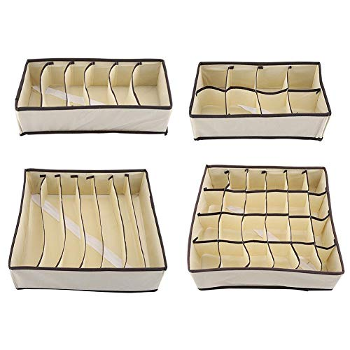 Opvouwbare opbergbox polyester + nylon draagbare opbergbox met meerdere roosters voor zakelijke handdoeken ondergoed sok tapes beige (complete set)