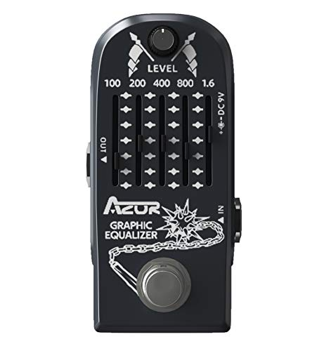 AZOR Guitar Pedal 5 Band Graphic EQ Effects Pedal Graphic Guitar Equalizer Distortions Effect Metal Pedal with True Bypass AP-322