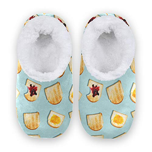 Fuzzy Slippers for Women and Men Memory Foam Comfort House Shoes Anti-Skid Sole Coral Fleece House Slippers Toasted Bread with Tasty Different Jam XX-Large