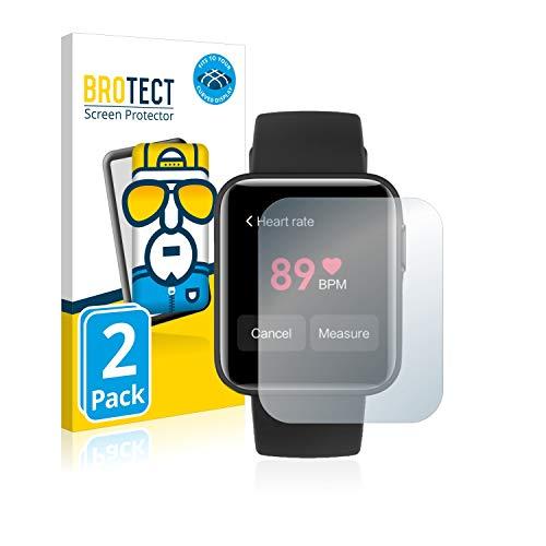 BROTECT Full-Cover Schutzfolie kompatibel mit Xiaomi Mi Watch Lite (2 Stück) - Full-Screen Bildschirmschutz-Folie, 3D Curved, Kristall-Klar