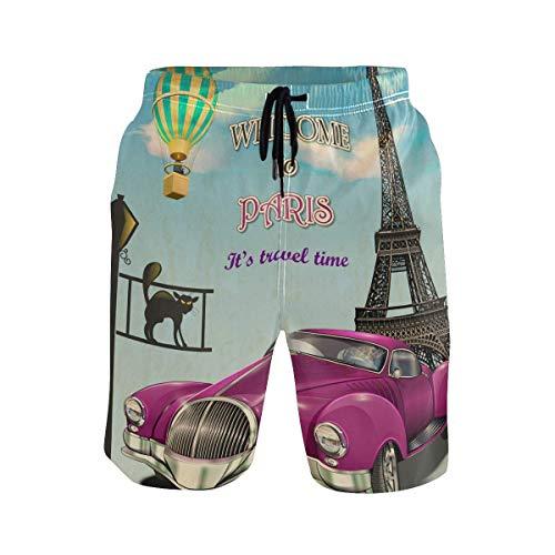 CODOYO Troncos de natación para Hombre Vintage Retro Garage Paris Effier Tower Swim Boardshort con Pantalones Cortos Deportivos para Correr con cordón, Pantalones Cortos para Gimnasia Informal