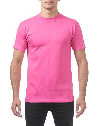 Pro Club Men's Comfort Cotton Short Sleeve T-Shirt, Hot Pink, Large