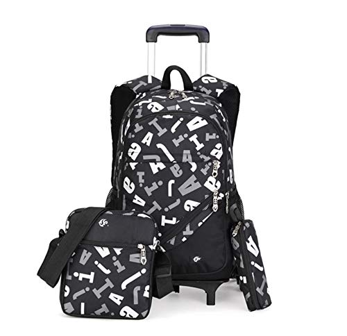 LINLIN Children Luggage Suitcase Wheeled Backpack Girls School Bag Kids Schoolbag Set Schoolbag With Lunch Bag Pencil For Boys School Travel Outdoor,White- Six wheel
