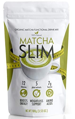 Matcha Slim Bebida Energetica en Polvo con Taurina y Espirulina 100gr - Te Verde Matcha Organico sin Azucar Detox para Ayudar en la Perdida de Peso y Acelerar el Metabolismo para Hombre y Mujer