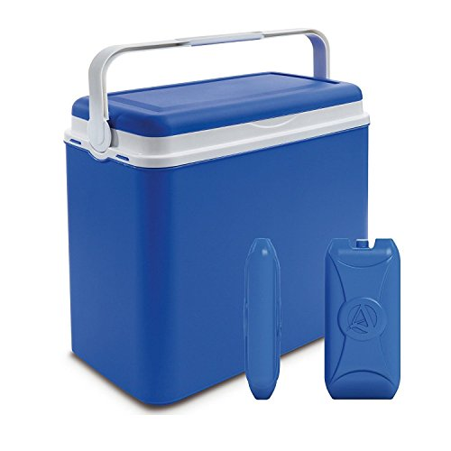 Large Blue 24 Litre Cooler Box Picnic Lunch Beach Camping + 2 Ice Packs