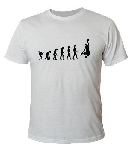 Mister Merchandise Cooles - Maglietta a maniche corte, motivo: evoluzione del basket bianco XL
