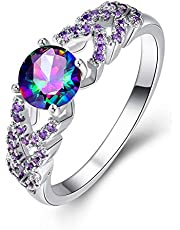 Purple Colorful Zircon Inlaid White Gold Ring