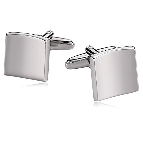 Amody Herren Edelstahl Stahl quadratisch Silber Manschettenknöpfe für Hochzeit Business Schmuck