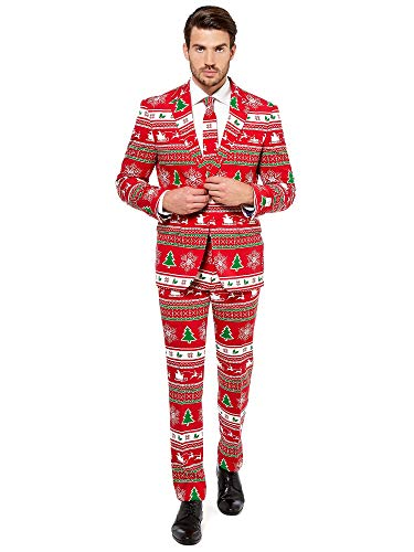 OppoSuits Herren Fun Ugly Christmas for Men – Winter Wonderland – Full Suit: Jacket, Pants & Tie Herrenanzug, Red, 60
