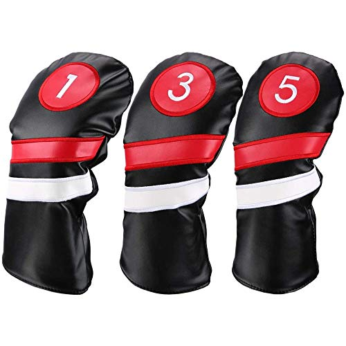 TOHHOT Golfschlägerhauben für Fahrer, Fairway-Holz, Schwarz, Rot, Vintage, PU 1, 3, 5, Driver Schwarz, 3 Stück