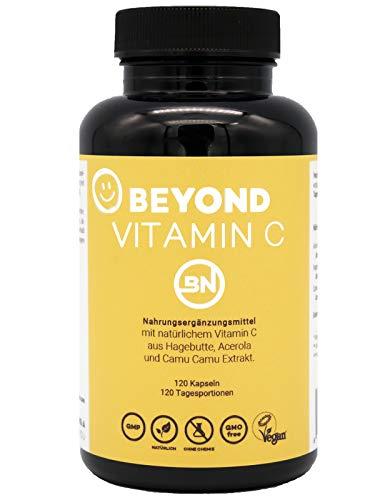 Beyond VITAMIN C Complex aus 3 pflanzlichen Quellen - Hagebutte + Acerola + Camu Camu - 120 vegane Kapseln, hochdosiert - mit natürlichen Rohstoffen ohne Zusatzstoffe