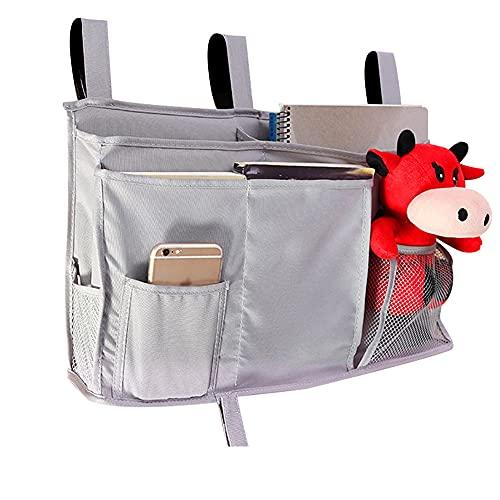 Organizador de cama, bolsa de almacenamiento colgante, bolsa de almacenamiento para colgar en la cama, multi-bolsillo con gran capacidad para revistas, teléfonos, auriculares (gris)