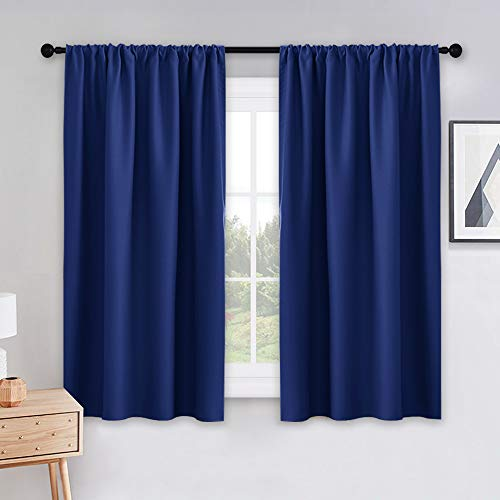 PONY DANCE Blackout Curtains for Kitchen - Light Blocking Thermal Insulated Rod Pocket Draperies Energy Saving/Short Window Treatments, 42 Wide by 54 inch Drop, Purplish Blue, Double Panels