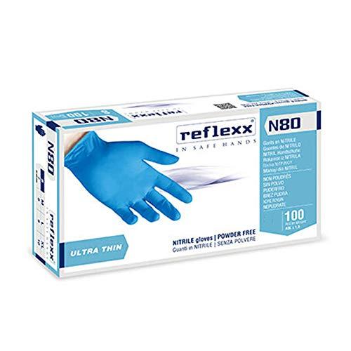 Reflexx N80B - 100 Guanti in Nitrile Monouso Senza Polvere e Senza Lattice gr.3,0 - Utilizzo Versatile, Adatto per Alimenti - DPI in Ambito Ospedaliero e Dentale - [100 Pezzi]