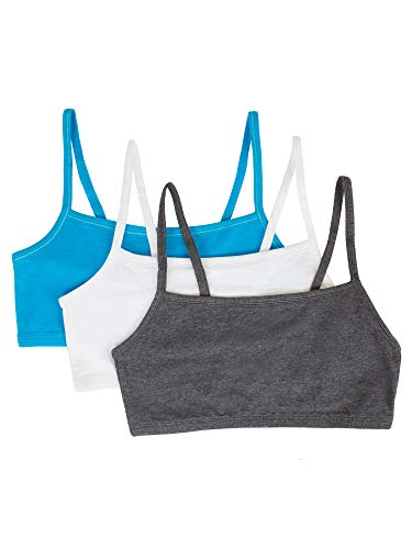 Fruit of the Loom Women's Spaghetti Strap Cotton Pullover Sports Bra, Charcoal Heather/White/Isazure, 38