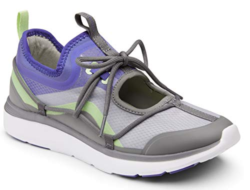 Vionic Women's Delmar Giselle Lace-up Leisure Shoe - Ladies Walking Shoes with Concealed Orthotic Arch Support Grey 8 Medium US