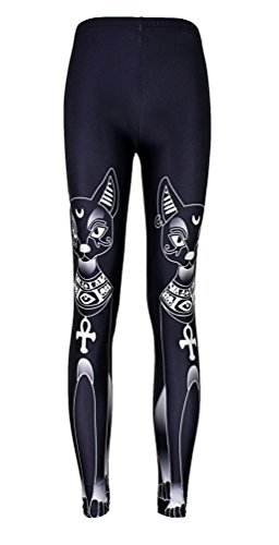 Jescakoo Slimming Leggings for Women Black Cat Printed Stretch Yoga Tight Pants S