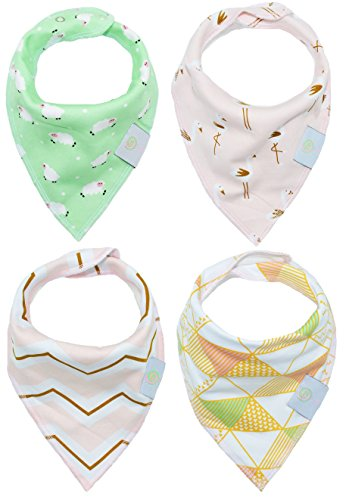 BABY POP Baby Bandana Drool Bibs for Girls with Adjustable Snaps, Extra Soft Absorbent 100% Organic Cotton Hypoallergenic Bib Set for Teething & Drooling, Perfect Baby Shower Gift (Pastel Mint)