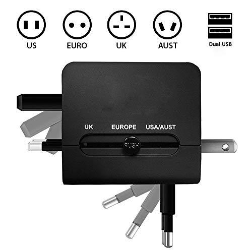 Adaptador Internacional de Viaje Cargador con Dos USB 2.1 A y Conectores universales de Pared para UK, US, AU, Europa y Asia y Fusible de Seguridad