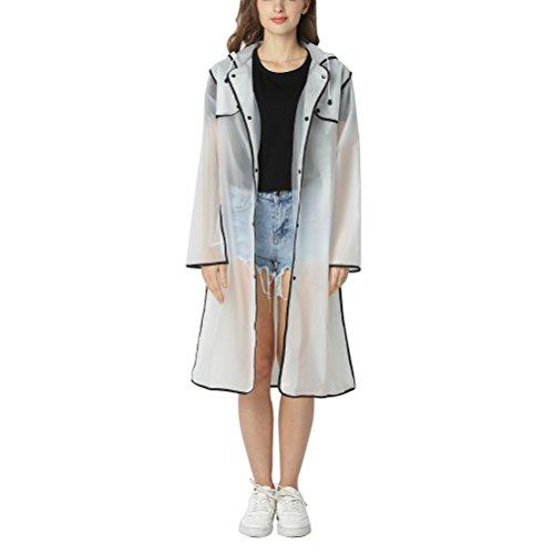 Zhuhaitf Fashion Adult Raincoat Transparent Bord coloré Long avec Poche imperméable Poncho Veste de Pluie imperméable imperméable Manteau de Pluie pour Les Femmes