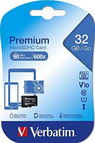 Verbatim Premium microSDHC Speicherkarte - 32GB, Klasse 10, bis zu 90 MB/s Lesegeschwindigkeit, schwarz