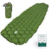 ECOTEK Outdoors Hybern8 Ultralight Inflatable Sleeping Pad for Hiking Backpacking and Camping - Contoured FlexCell Design - Perfect for Sleeping Bags and Hammocks (Evergreen)
