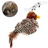 Hearthrousy Katzenspielzeug Beschaftigung Elektrisch Interaktives Automatisch Spatz Geformt Vogel Simulation Klingen Spielzeug Haustier Interaktiv Klingende Plüschpuppe 14.5x7x5.5cm