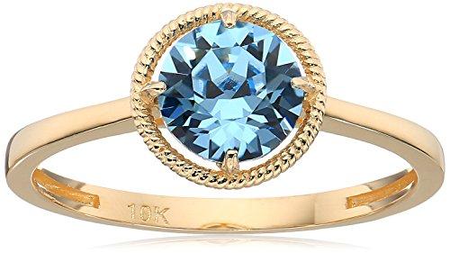 10k Gold Swarovski Crystal March Birthstone Ring, Size 7
