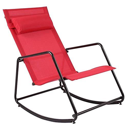 XHCP Jardín al Aire Libre Relax Mecedora Sillón de Interior Sillones para Todo Clima con Almohada extraíble Sling Chair Porches Balcón Asiento mecedor, 4 Colores (Color: Rojo, tamaño: 81x54x86cm)