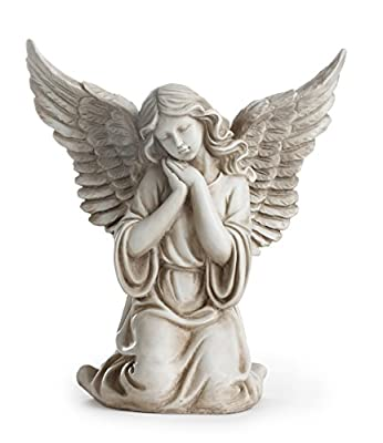 """Napco 11300 Kneeling Angel with Outstretched Wings Garden Statue, 12.5"""""""